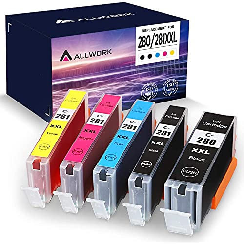 Allwork PGI280XXL CLI281XXL Compatible Ink Cartridges Replacement for Canon 280 281 XXL Ink Cartridge Works with Canon Pixma TR8520 TS9120 TS6220 TS6120 TS8120 TR7520 TS8220 TS9521C TS9520 5 Packs