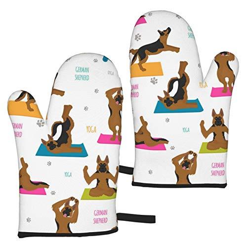 MayBlosom Los guantes de yoga para perros poses y ejercicios de pastor alemán son impermeables, antideslizantes, resistentes al calor, guantes de horno de microondas, utilizados para cocinar y asar