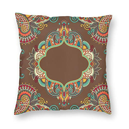 niBBuns Throw Pillow Covers Decorative,Ethnic Paisley Motifs Rich in Color with Ornate Authentic Frame Design,Pillow Covers Decorative 16x16 in Pillowcase Cushion Covers Zipper