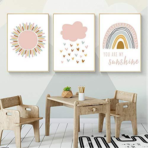 Póster de lienzo con impresión de arte de pared de arcoíris de sol rosa, pintura de nubes, cuadros de pared nórdicos, decoración de habitación de niños, 51x71cmx3 sin marco
