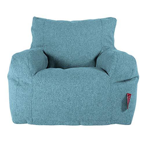 Lounge Pug, Sitzsack Ohrensessel mit Hocker, Interalli Wolle Aqua