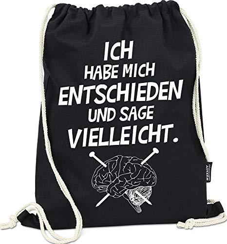 Hashtagstuff® Turnbeutel mit Sprüchen Designs auswählbar Kordel Schwarz Spruch Rucksack Jutebeutel Sportbeutel Gymbag Beutel Hipster Vielleicht