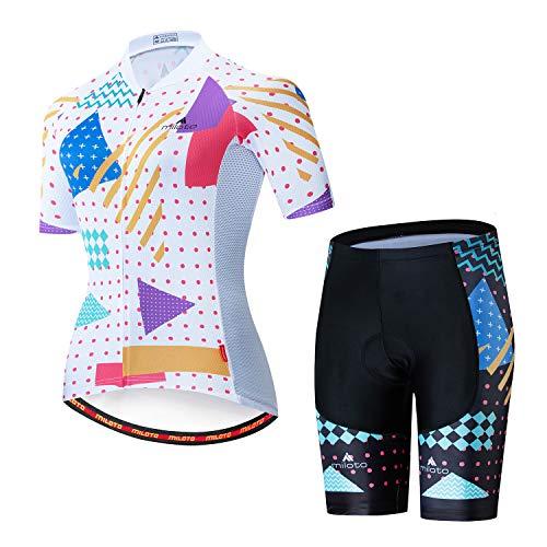MILOTO Women's Cycling Jersey Reflective Shirt Padded Shorts Set(L,White dot)