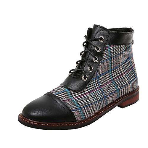 Suitray Stiefeletten Damen Mode Winter Herbst Gestreift Leinen Boots Pumps Populär Warm Flache...