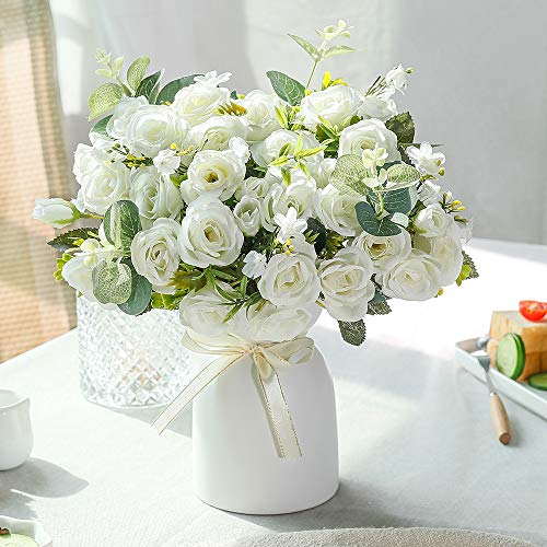 LESING Artificial Silk Rose with Vase Fake Flowers Wedding Flowers Bouquets Arrangement Home Office Party Centerpiece Table Decoration (White)