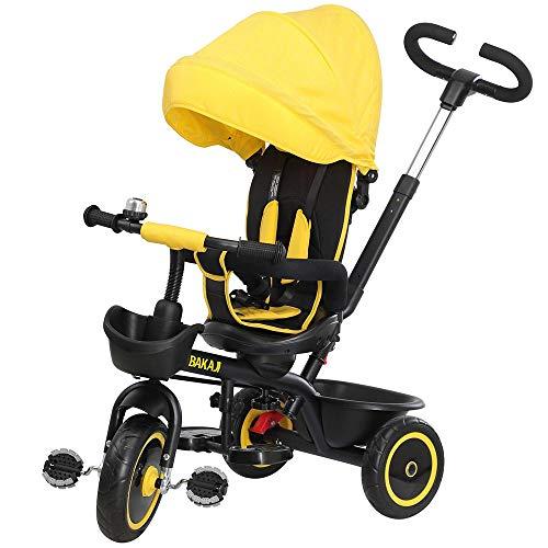BAKAJI Triciclo Passeggino per Bambini a Pedali e Spinta 3in1 con Sediolino girevole a 360 gradi Direzione Mamma Imbottito Cinture di Sicurezza Maniglione Direzionabile e Tettuccio Cappottina (Giallo)