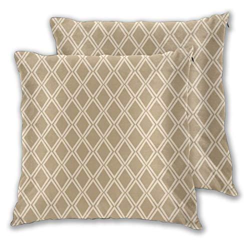 Juego de 2 fundas de almohada cuadradas Chic Camel Off White Diamond Geométrico Lumbar Home Decorativas suaves Fundas de cojín para dormitorio, sofá sala de estar 45,7 x 45,7 cm