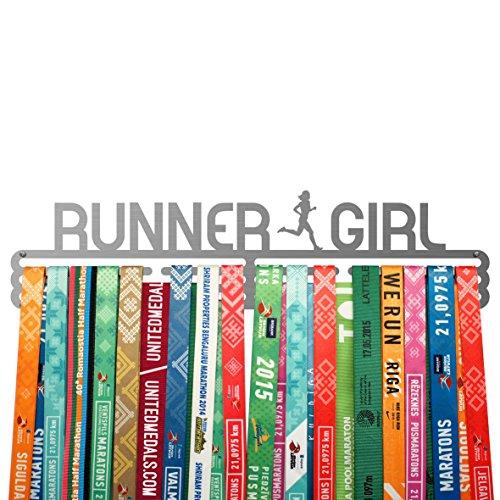 Running medal hanger RUNNER GIRL - stainless steel holder
