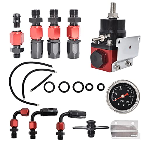 WFLNHB Universal Adjustable Fuel Pressure Regulator Kit Aluminum with 100 Psi Pressure Gauge AN6-6AN Fuel Line Hose Fitting Connectors Kit Black-Red
