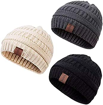 3-Pack Redess Kids' Fleece-Lined Knit Beanie