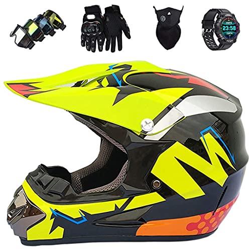 Casco de la Motocicleta, JMY-01 Kids Walk Full Full Offroad Motorcycle Cross Helmets, ATV MTB Sport Outdoor Sport Motorcycle Set con Goggles Glove Mask Smart Watch, Negro-Amarillo,XL