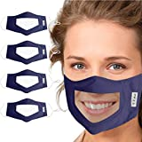Ecnobia 4Pcs Reusable and Washable, Face Bandanas with Clear Window, Visible Expression, Indoors and Outdoors, for Adults, Also for Deaf and Hard Of Hearing People - Navy