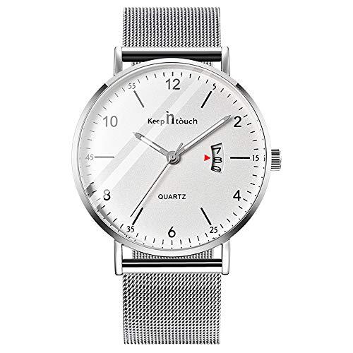 Infinito U-Reloj de Cuarzo Ultrafino para Hombre Mujer Moda Relojes de Pulsera Casual Impermeable Reloj con Fecha de Acero Inoxidable