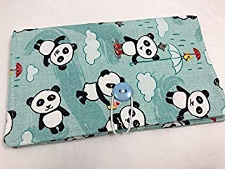 Duplicate Checkbook Cover Register with Pen Holder - Panda Love Bamboo Aqua Blue