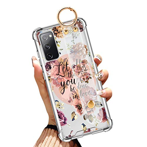 Samsung Galaxy S20 FE 4G&5G Clear Case 6.5 Inch Anti-Yellow Reinforced Corners Full Protective Slim Phone Cover with Design Christian Quotes Bible Verse Flower Floral Shell with Wrist Strap Lanyard