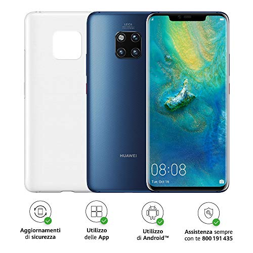 "Huawei Mate 20 Pro (blauw) plus originele cover, telefoon met 128 GB, display Oled 6.39 ""QHD +, processor Kirin 980 Dynamic Octa Core met kunstmatige intelligentie [Engelse versie]"