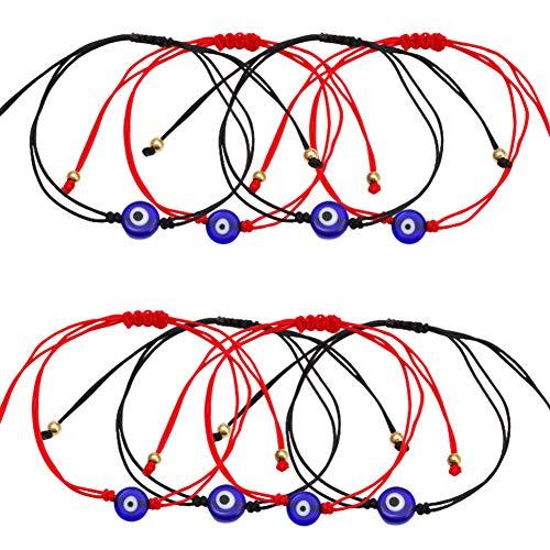 MZSM 8 pcs Pulsera Mal de Ojo Pulsera Clásico Ojo de la Buene Suerte con circonitas Proteccion Joyería de protección Cordón Negro/Rojo