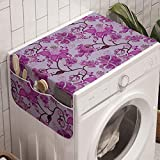 Ambesonne Bohemian Washing Machine Organizer, Chinese Traditional Pattern Abstract and Hippie Blossoms, Anti-slip Fabric Cover for Washers and Dryers, 47' x 18.5', Fuchsia Brown and Mauve
