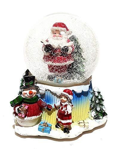 Unbekannt Große Mechanische Spieluhr Schneekugel Schüttelkugel Weihnachtsmann Deko 12,5cm Ø Dekoration Spieldose Weihnachten Weihnachtsdeko Musik