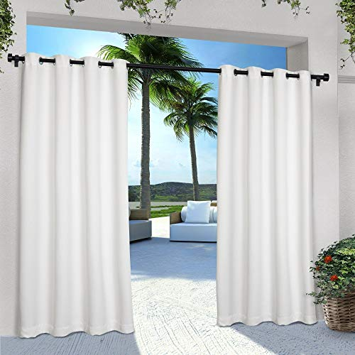 Exclusive Home Indoor/Outdoor Solid Cabana Window Curtain Panel Pair with Grommet Top 54x96 Winter White 2 Piece