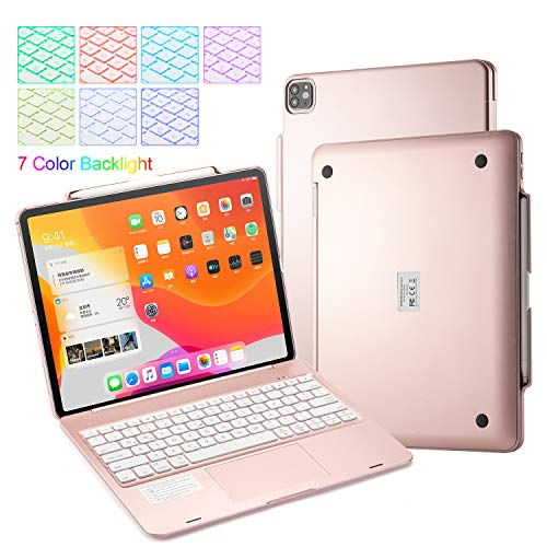 UIQELYS 2018/2020 iPad Pro 12.9 inch Touchpad Keyboard Case Protection Wireless Bluetooth 5.0 Tablet Backlit Keyboard with Built in Rechargeable Battery (Rose)