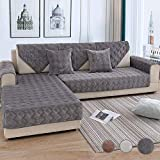 OstepDecor Couch Cover, Sofa Cover, Quilted Sectional Couch Covers, Velvet Sofa Slipcover for Dogs Cats Pet Love Seat Recliner Leather L Shaped, Armrest Backrest Cover, Dark Grey 36 x 82 Inches