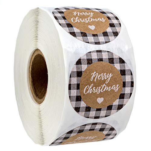 Black and White Buffalo Plaid Merry Christmas Stickers / 500 1.5' Christmas Tags