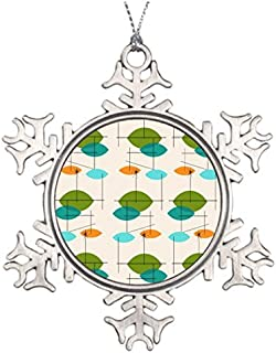 Cheyan Xmas Trees Decorated Abstract Monogrammed Snowflake Ornaments Mid Century Modern Retro Atomic Mobile Pattern