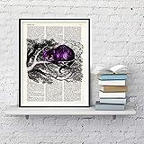 Geiqianjiumai Cartel del Gato púrpura en el árbol póster e Impresiones Artista de la Pared decoración del hogar Lienzo Arte Animal Pintura Cartel sin Marco Pintura 52x72cm