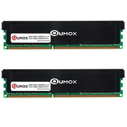 QUMOX Memoria DIMM 16GB (2x 8GB) DDR3 1600MHz 1600 PC3-12800 (240 PIN) para computadora escritorio PC