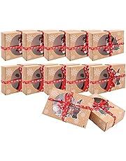 12 cajas de galletas de Navidad cajas de regalo para magdalenas con papel transparente para ventana de Navidad DIY cajas de regalo para tartas decorativas cajas para regalo de vacaciones