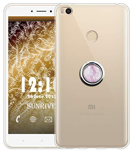 Sunrive Funda para Xiaomi Mi MAX 2, Silicona Slim Fit Gel Transparente Carcasa Case Bumper Anti-Arañazos Espalda Anillo Kickstand 360 Grados Giratorio Cover(Mármol Rosa)