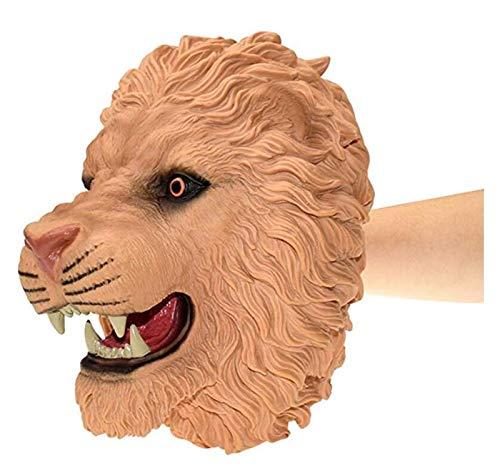 JSJJATQ Peluche Caucho de Goma Suave Cabeza de Animal Puppet Figura Toys Guantes para niños Modelo Dinosaurio Dinosaur Hand Puppet Juguetes para niños (Color : Lion)