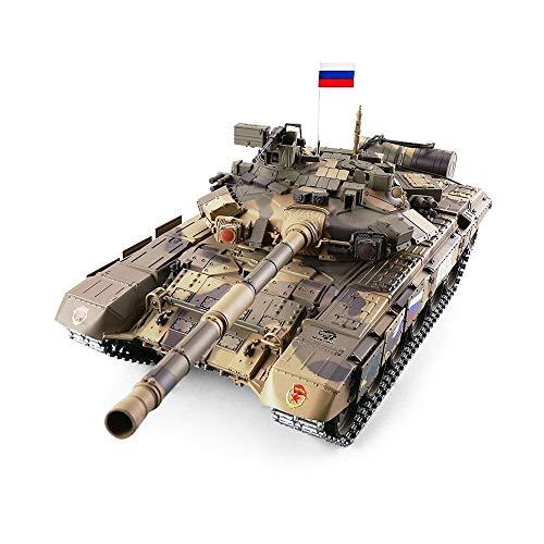 Drametree Russische T-90 RC Fernbedienung Panzer Upgraden 7000 MAh Batterie 2.4Ghz 1/16 Skala Modell, Metallgleis, Simulation Sound/Aktion Und Rauch, Schießen BB Eier (Color : Upgraded Version)