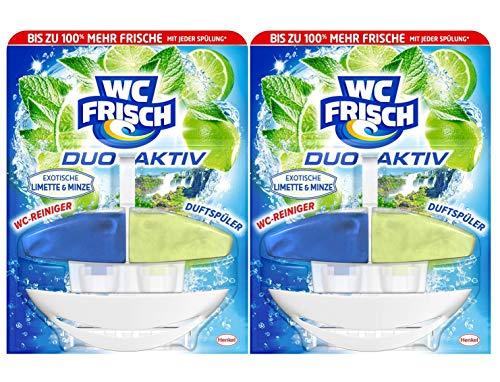 WC FRISCH Duo-Aktiv Exotische Limette & Minze, WC-Reiniger und Duftspüler 2er Pack (2 x 50 ml)