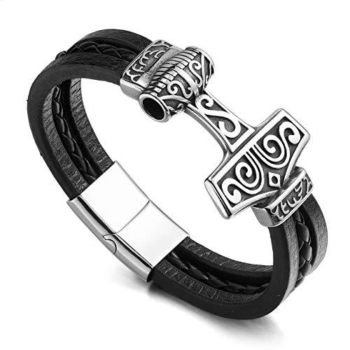 PiercingJak Herren Echtleder Geflochten Armband Magnet Keltischer Knoten Lederarmband Thors Hammer Wikinger Armbänder Schmuck