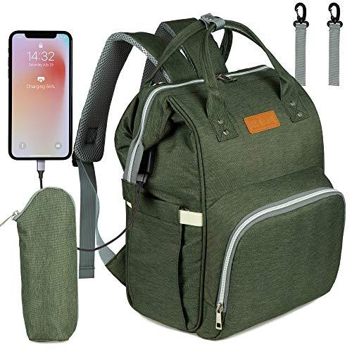 NEVEQ Baby Wickelrucksack, Babytasche für Reise, Wickeltasche Große Kapazität, Multifach Reise Rucksack Wasserdicht Fächer Babyflaschehälter (Militärgrün)