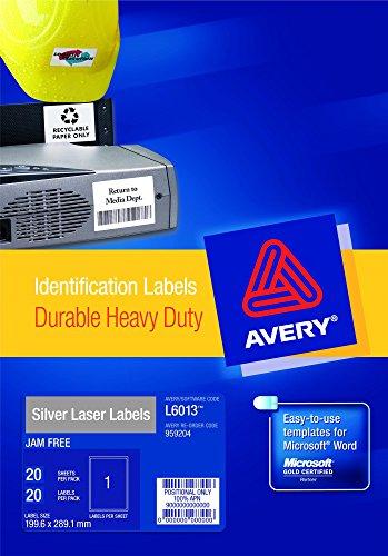 Avery L6013-20- Set di Etichette per Identificare Cavi ElettriciArgento, 210 x 297, 20 Pezzi