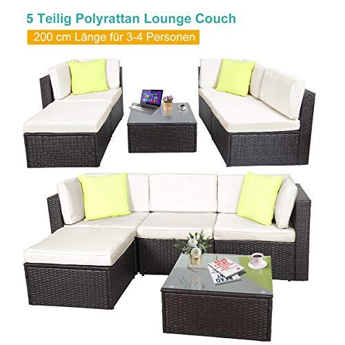 GOJOOASIS Polyratten Lounge, 5 Teilig Sitzgruppe, 200cm Gartenmöbel Garnitur für 3-4 Personen, Couch-Set in Braun-schwarz mit beigen Bezügen&grünen Kopfkissen, für Garten, Terrasse&Balkon(2 Pakete) - 2