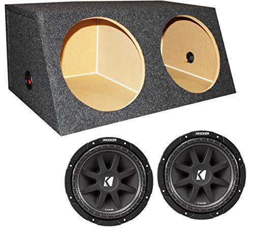KICKER 2 43C124 12' 600W Car Audio Subwoofers Subs 4 Ohm + Dual Sealed Sub Box