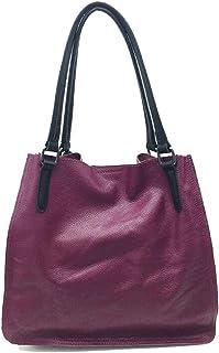 Skbiubiu Women's solid color shoulder bag fashion Messenger bag leather handbag business retro handbag (Color : Purple, Size : 33 * 31 * 10cm)