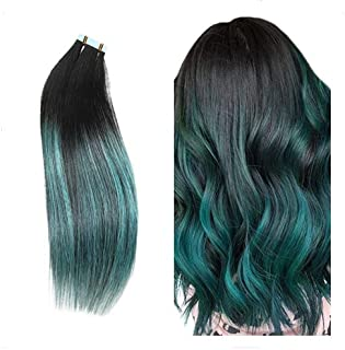 black to teal ombre extensions