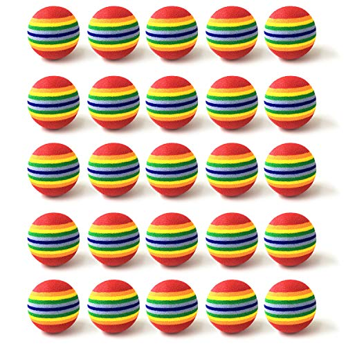 Fasmov - Juego de 30 pelotas de entrenamiento de golf de espuma de arcoíris
