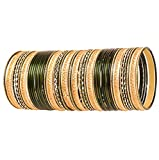 Touchstone Colorful 4 Dozen Bangle Collection Indian Bollywood Alloy Metal Textured Forest Green Golden Special Large Size Bangle Bracelets Set of 48 In Antique Gold Tone For Women.