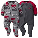 GERBER Baby Boys 2-Pack Blanket Sleeper, Gray/Red Fire Truck, 12 Months
