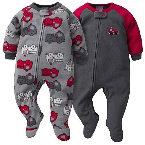 Gerber Baby Boy's 2-Pack Blanket Sleeper Sleepwear, Gray/Red Fire Truck, 24 Months