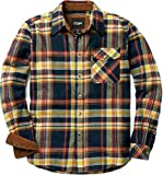 CQR Men's All Cotton Flannel Shirt, Long Sleeve Casual Button Up Plaid Shirt, Brushed Soft Outdoor Shirts, Corduroy Lined(hof110) - Indigo, Small