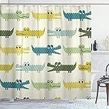 DYCBNESS Duschvorhang,Krokodil-Karikatur-bunter Baby-Alligator,Vorhang Waschbar Langhaltig Hochwertig Bad Vorhang Polyester Stoff Wasserdichtes Design,mit Haken 180x180cm