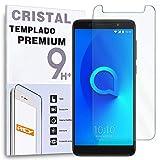 REY Protector de Pantalla para ALCATEL 3X, Cristal Vidrio Templado Premium
