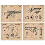 Vintage AR15, Colt 1911, Tommy Gun, Peacemaker Patent Poster Prints, Set of 4 (8x10) Unframed Photo, Wall Art Decor Gifts Under 20 for Home, Office, Man Cave, College Student, Teacher, NRA Fan
